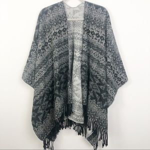 HERITAGE 1981 | Black & Gray Cape Poncho One Size